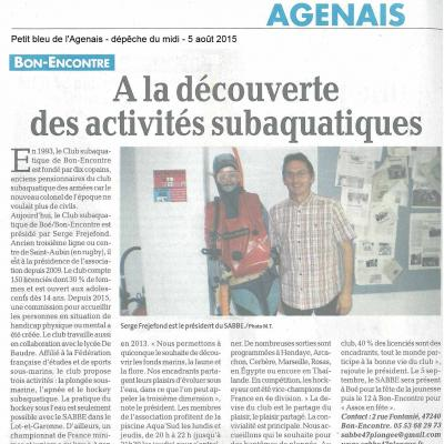 SABBE article Petit Bleu août 2015